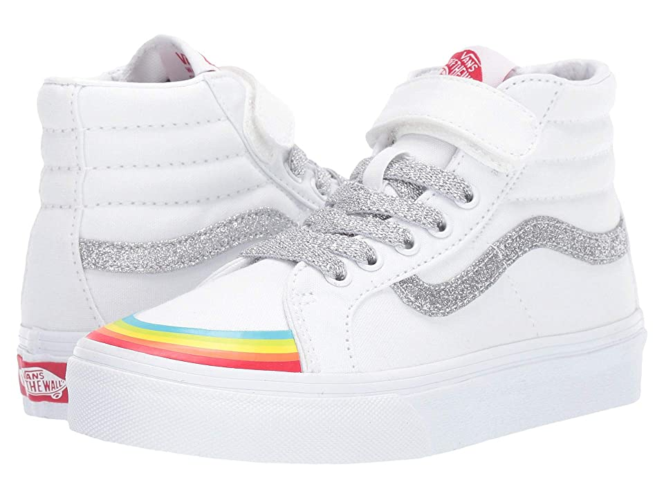 Vans Kids SK8-Hi Reissue 138 V (Little Kid/Big Kid) ((Rainbow Toe Cap) True White/Silver) Girl