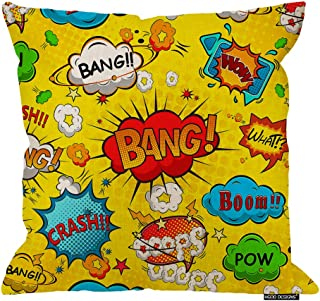 HGOD DESIGNS Square Pillow Cushion Cover,Comic Speech Bubbles Superhero Art Pattern Cotton Linen Cushion Covers Home Decorative Throw Pillowcases 18x18inch