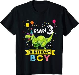 Kids 3 Year Old Shirt 3rd Birthday Boy T Rex Dinosaur T Shirt