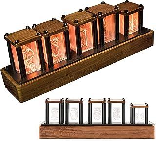 HTDHS LED Nixie Clock、グローデジタルチューブクロック6ディスプレイモード、1600万色Nixieチューブクロック5レベルの明るさ調整、シンプルなアセンブリ、クルミ
