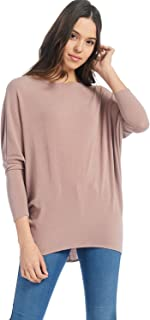 A+D Womens Casual Long Dolman SLV Pullover Loose Fit Blouse Top