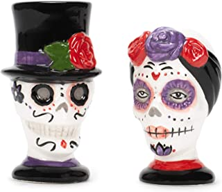 Skull Fancy Day Of The Dead Salt & Pepper Set Halloween Table Decor