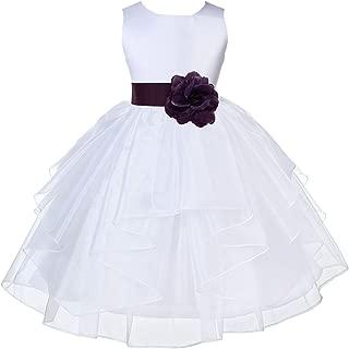 ekidsbridal White Satin Shimmering Organza Flower Girl Dress Holy Communion Dresses 4613T