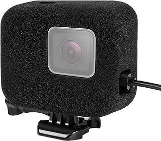 【Taisioner】GoPro HERO5/6/7用 第二世代防風カバー 防風スポンジケース サイドオープン 着装して充電可能 騒音防止 録音ノイズ対策 スポンジ製カバー/ケース ブラック 充電可能タイプ