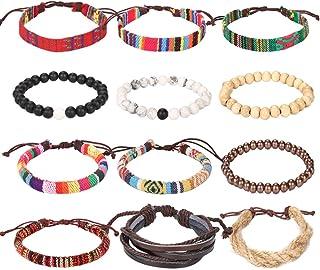 Lateefah Wrap Bead Braided Tribal Leather Woven Stretch Bracelet - Boho Hemp Linen String Bracelet for Men Women Girls