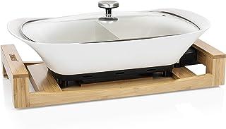 Princess Multi-cuiseur de Table Pure Blanc 163030, Revêtement céramique, Plateau en Bambou, 4 Litre, 1600W