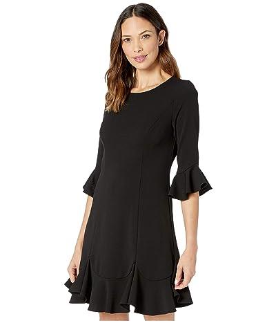 Adrianna Papell Knit Crepe Ruffled Shift Dress (Black) Women