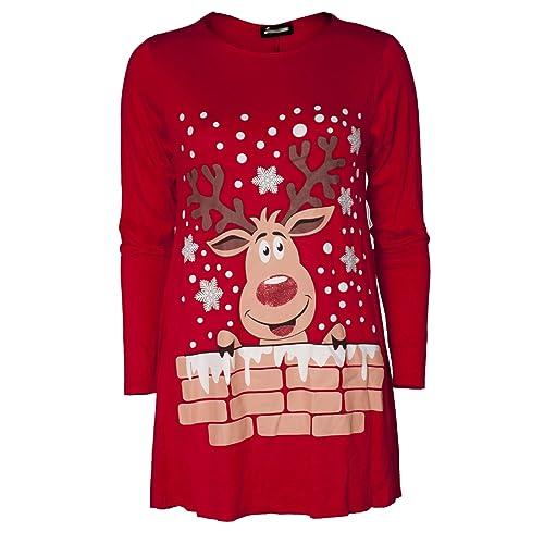 Ladies Long Sleeve Xmas Christmas Novelty Print Midi A-Line Skater Swing  Dress Flared Top 38a3959b5