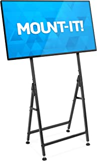 "Mount-It! Portable TV Display Stand [Fits 33"" - 55""] Flat Screen Mount, Adjustable, Foldable, Digital Signage Floor Stand, VESA Bracket Mounted for Monitors (Matte Black)"