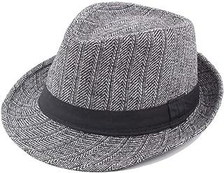 CHENDX High Quality Hat, Retro Classic Women Men Wool Fedora Hat Striped Panama Hat Thick Jazz Hat Size 58CM (Color : Gray, Size : 56-58CM)