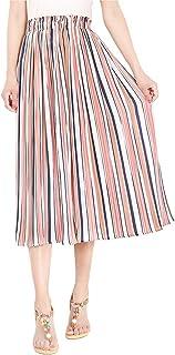 YiyiLai Women Stripes Plus Size Wide Leg High Waist Pleated Chiffon Capri Pants