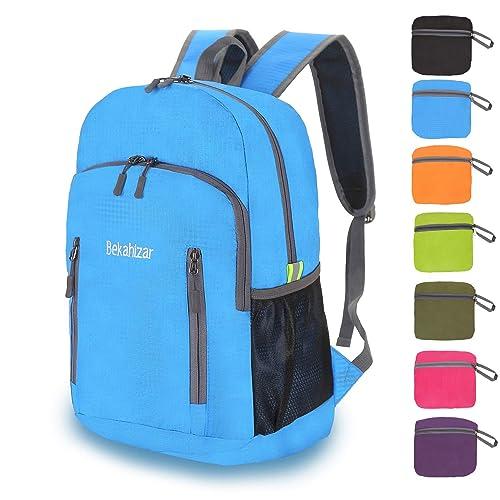 cb41a5294f Bekahizar 20L Ultra Lightweight Backpack Foldable Hiking Daypack Rucksack  Water Resistant Travel Day Bag for Men