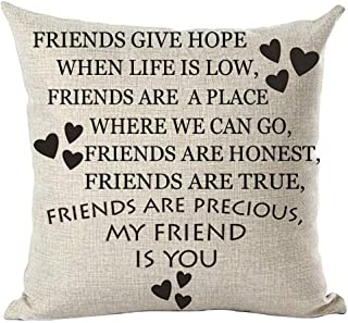 ramirar Black Word Art Quote Friends Give Hope are Precious Love Friendship Inspirational Decorative Throw Pillow Cover Case Cushion Home Living Room Bed Sofa Car Cotton Linen Square 18 x 18 Inches