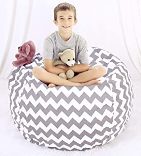 Great Eagle 38 x 38 Inches Extra Large 100% Organic Cotton Canvas Kids Stuffed Animals Toys Storage Bean Bag Chair Cover for Kids, Toddlers ,Teens (Chevron Gray)