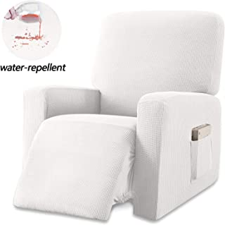 Granbest Premium Water Repellent Recliner Chair Cover High Stretch Jacquard Fabric Recliner Slipcover with Pockets (Recliner, Creamy White)