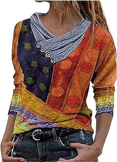 Binggong Dames asymmetrisch bedrukt sweatshirt losse pullover blouse bovenstuk oversized tops T-shirt, elegante blouse bed...