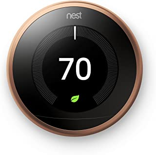 Google, T3021US, Nest Learning Thermostat, 3rd Gen, Smart Thermostat, Copper, Works With Alexa