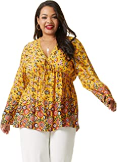 SONJA BETRO Women's Printed V-Neck Empire Waist Long Bell Sleeve Tunic/103YELLOW Print/Tag Size 4X=XXXXX-Large