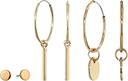 Polished Flat Stud and Bar Circle Charm Four Three-Piece Earrings Set