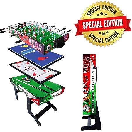 Sport One Tavolo Multigioco Italy Verticale Salvaspazio - 4 Giochi in 1 - Calciobalilla 4 Vs 4 Aste Rientranti/Ping Pong/Tavolo da Biliardo & Speed Hockey - Cm. 121,90 X 60 X 81,5 - Esclusiva Italia