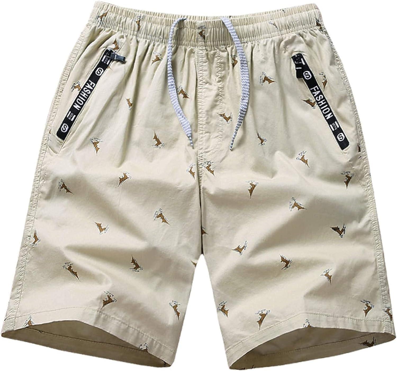 Men's Elastic Waist Plus Size Shorts Fashion Printed Simple Comfortable Trend Khaki
