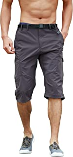 Yameekamulga Quick Dry 3/4 Capris Shorts Men's Outdoor Summer Lightweight Below Knee Cargo Shorts No Belt Included
