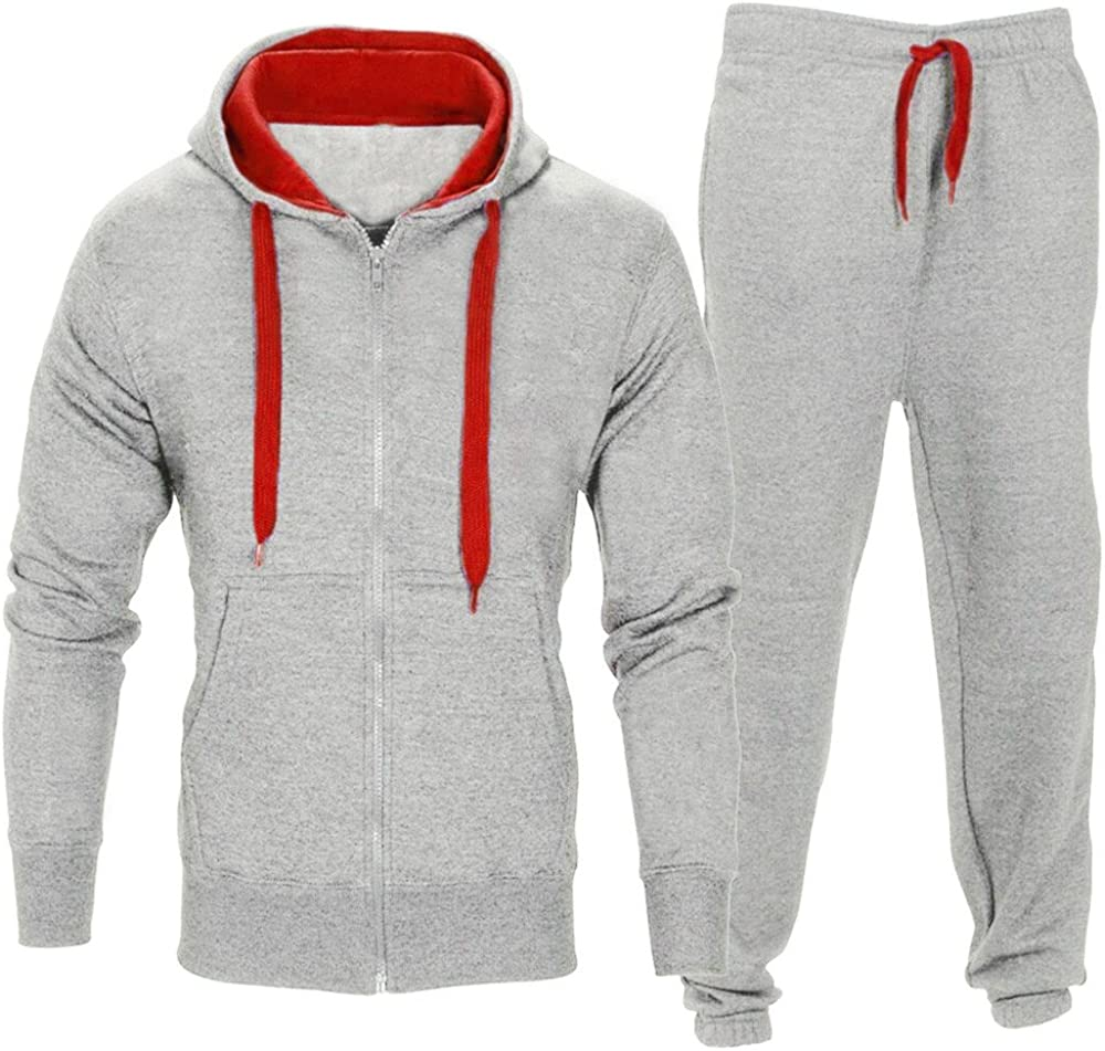 BSGSH Mens Athletic Tracksuit Full Zip Slim Fit Long Sleeve Solid Warm Jogging Sport Sweat Suits