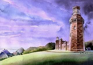 Navesink Twin Lights, Highlands New Jersey. Castle Lighthouse by James Mann. Matted Watercolor Art Print (8x10)