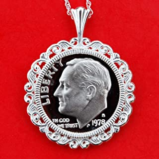 US 1978 Roosevelt Dime Gem BU Uncirculated Proof Coin Soild 925 Sterling Silver Necklace w. 18