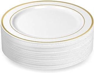 Sponsored Ad - BloominGoods Gold Rimmed Plastic Dinner Plates (100 Pack) 10.25