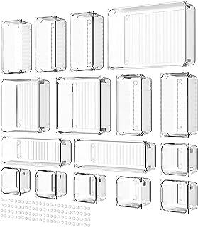 Yosemy 16 pièce Organisateur Tiroir Bureau Acrylique Transparent Boîte Séparé Séparateur de Boîtes de Rangement 5 Tailles...