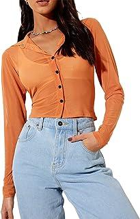 Women Girls Sexy Mesh Crop Top Shirt Long Sleeve Solid Colour See Through Button Closure Slim Fit T-Shirt TransparentBlous...