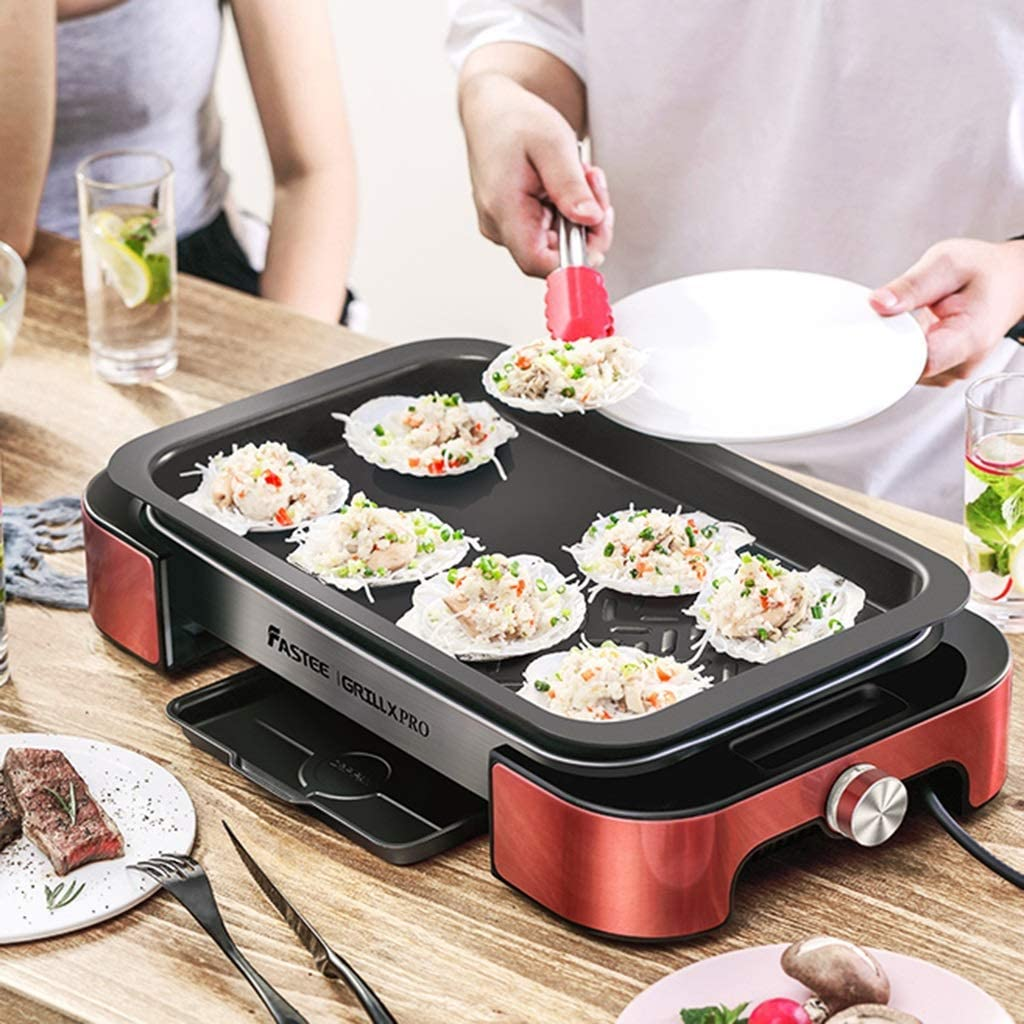 LXYZ Poêle à Frire électrique Multifonction pour Les ménages Poêle à Griller Poissons grillés Poêle à Frire électrique grancapacité sans fumée et antiadhésive intégrée Silver