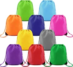 Drawstring Backpack String Bags 10 Pack Bulk for Birthday Party Polyester Custom Multipurpose Cinch Bag for Heat Vinyl and Tie Dye (Multicolored)