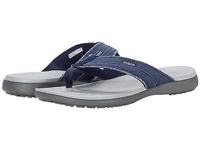 Crocs Santa Cruz Canvas Flip (Navy/Light Grey) Men