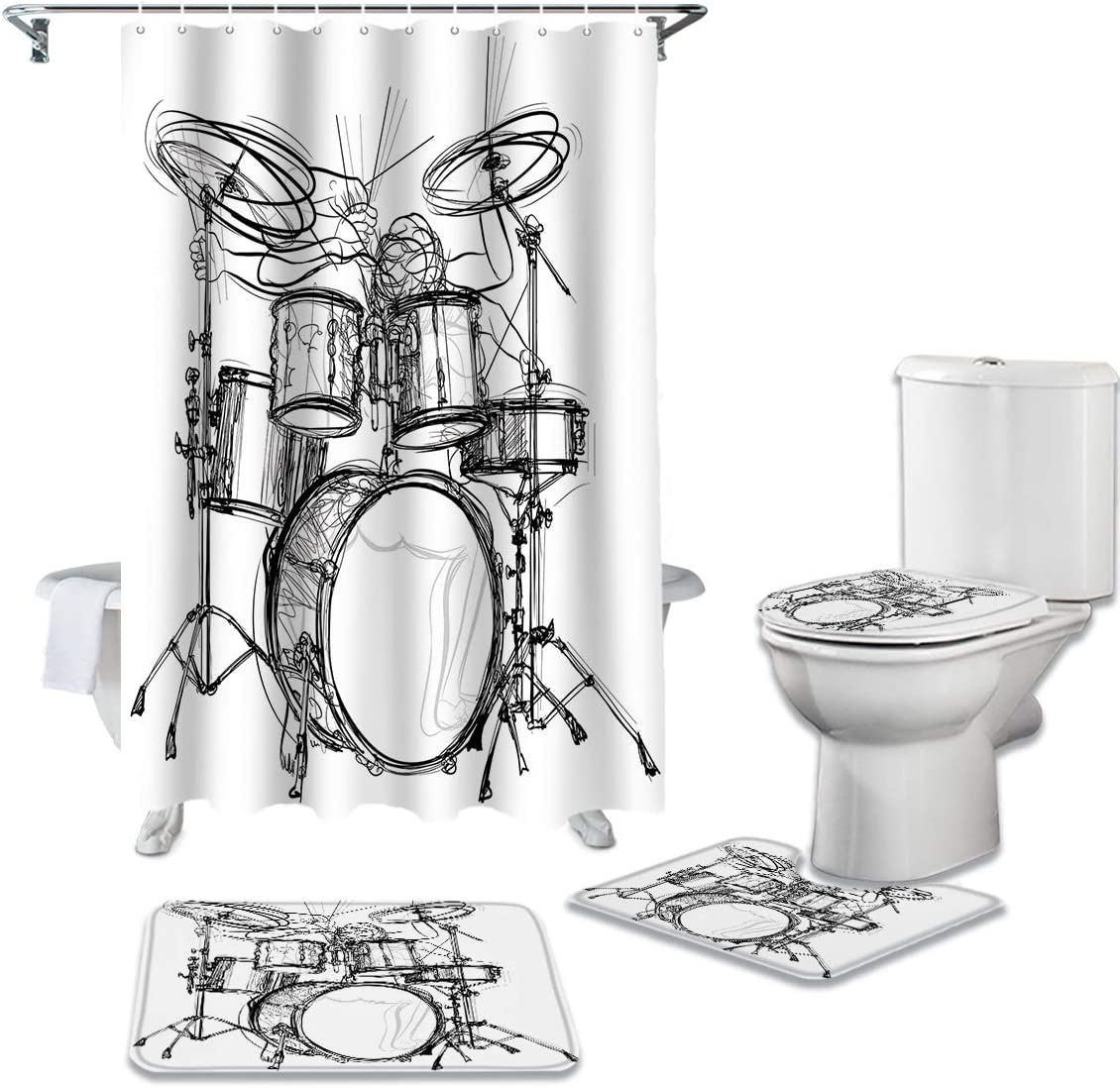 CHARMHOME 4 Piece Shower Popular popular Curtain Non-Slip Toilet Under blast sales Rug Sets with