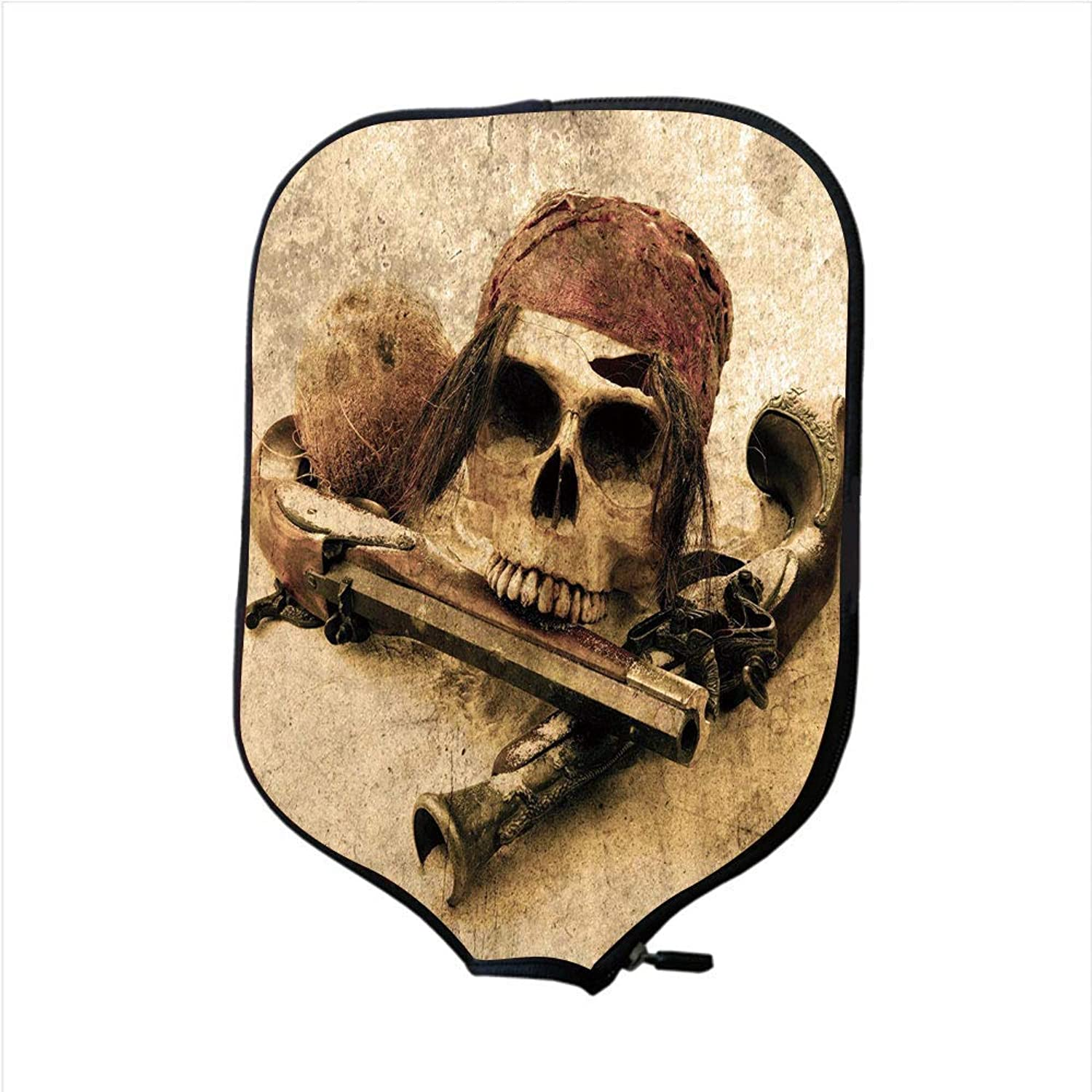 Fine Neoprene Pickleball Paddle Racket Cover Case,Pirate,Pirate Skull with Headscarf and Guns on Beach Grunge Display Danger Robbery Death Decorative,Light Brown,Fit for Most Rackets