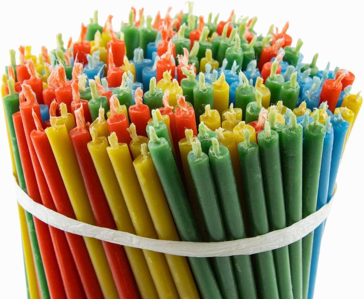 Longueur : 160 mm 3 couleurs Dur/ée de combustion : 30 min Diam/ètre : 5 mm Diveevo Qualit/é sup/érieure Lot de 150 bougies en cire dabeille multicolores