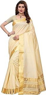 We Plus Trade Cotton Blend Saree (Wpt-Kerala Cotton-001_White And Gold)