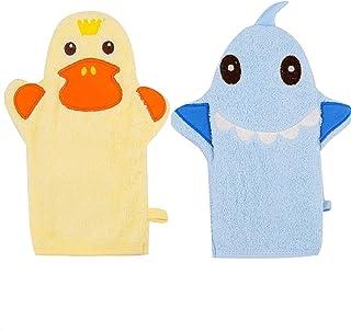 Baby Bath Mitt Ducky Puppet Washcloths Kids Wash Gloves Bath Sponge Body Scrub for Toddler (Blue Shark&Yellow Ducky)