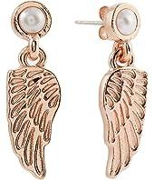 Angel Wing and Pearl Delicate Earrings