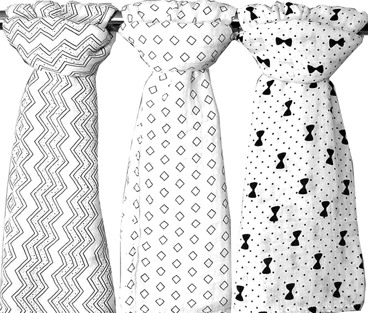 Bamboo Muslin Swaddle Baby Blankets Set of 3 - Organic X-Large Hypoallergenic - 3 Black and White Unisex Designs