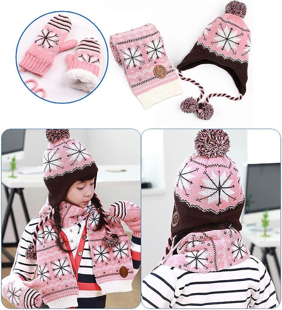 Richea Boys Girls Fleece Lining Winter Hat Scarf Gloves Set Snowflake Printed
