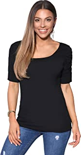 KRISP Women Basic Jersey Tops Ruched Pleated Plain T Shirt