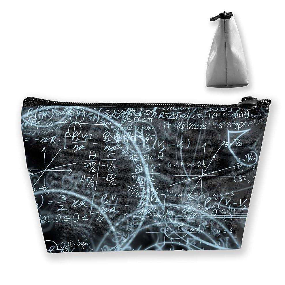 湿った限定適応する台形 レディース 化粧ポーチ トラベルポーチ 旅行 ハンドバッグ 数学式プリント コスメ メイクポーチ コイン 鍵 小物入れ 化粧品 収納ケース