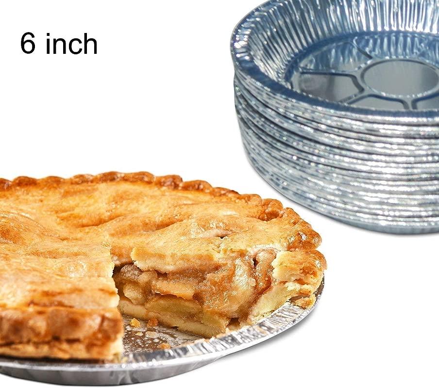Premium 6 Aluminum Foil Pie Pans 50pcs Set Disposable Tin Plates For Pies Tart Quiche