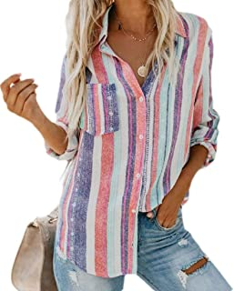 GUOCAI Women Long Sleeve Stripe Button Up Shirts Blouse Tops with Pocket