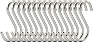 RuiLing 15-Pack S Shaped Hooks Heavy-Duty Genuine Solid Polished Stainless Steel Hanging Hooks,Kitchen Spoon Pot Hanging Hooks Hangers Clothes Storage Rack Multiple uses - Size Small