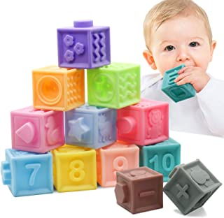 MARUMINE Baby Blocks Squeeze Soft Building Blocks Pack of 12PCS, Teething Chewing Stacking Toys with Numbers Animals Educational Bath Play Set Textures & Matching Game for 6 Month and Up