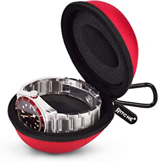 Watch Travel Case Single Watch Box Watch Storage Holder Box for Wrist Watches Smart Watches, Red
